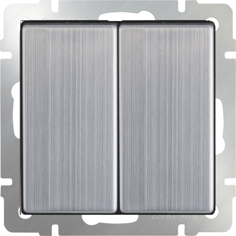 Выключатель 2клавишный (глянцевый никель) /WL02-SW-2G