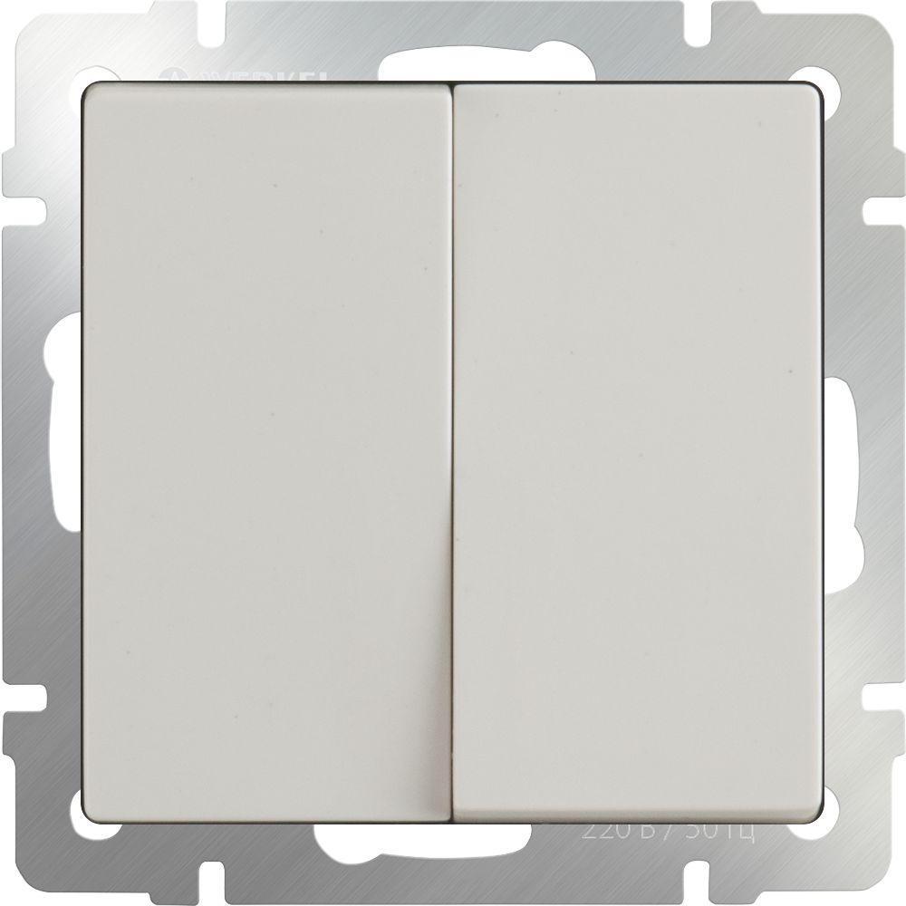 Выключатель 2клавишный проходной (слоновая кость) /WL03-SW-2G-2W