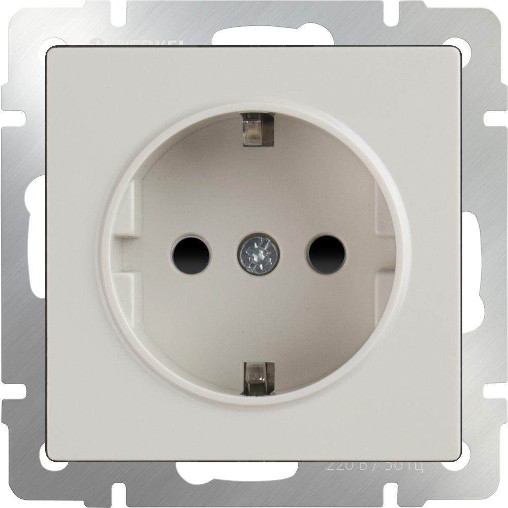 Розетка с заземлением и шторками (слоновая кость) /WL03-SKGS-01-IP44