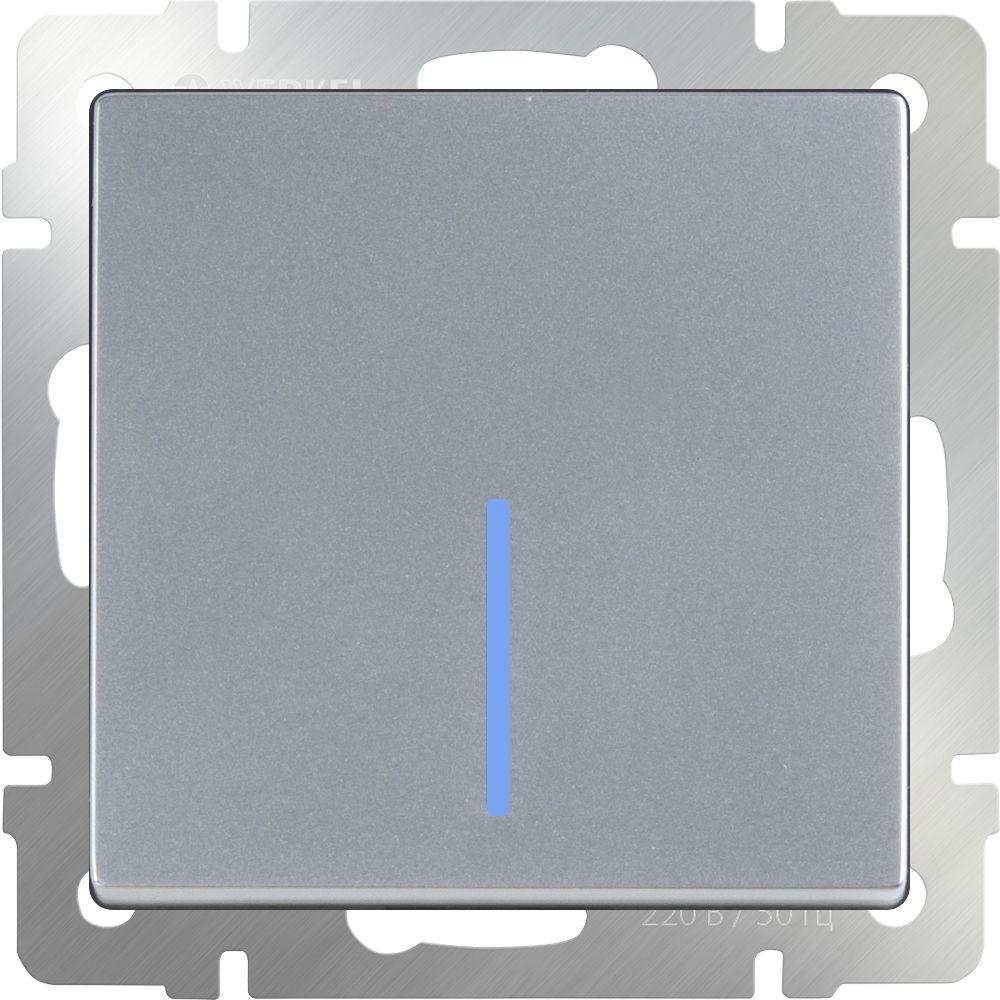 Выключатель 1клавишный проходной с подсветкой (серебряный) /WL06-SW-1G-2W-LED