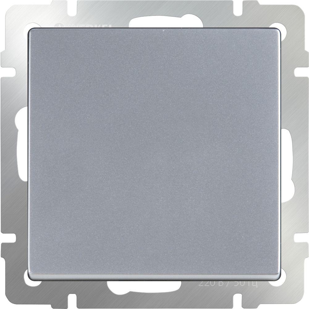 Выключатель 1клавишный проходной (серебряный) /WL06-SW-1G-2W