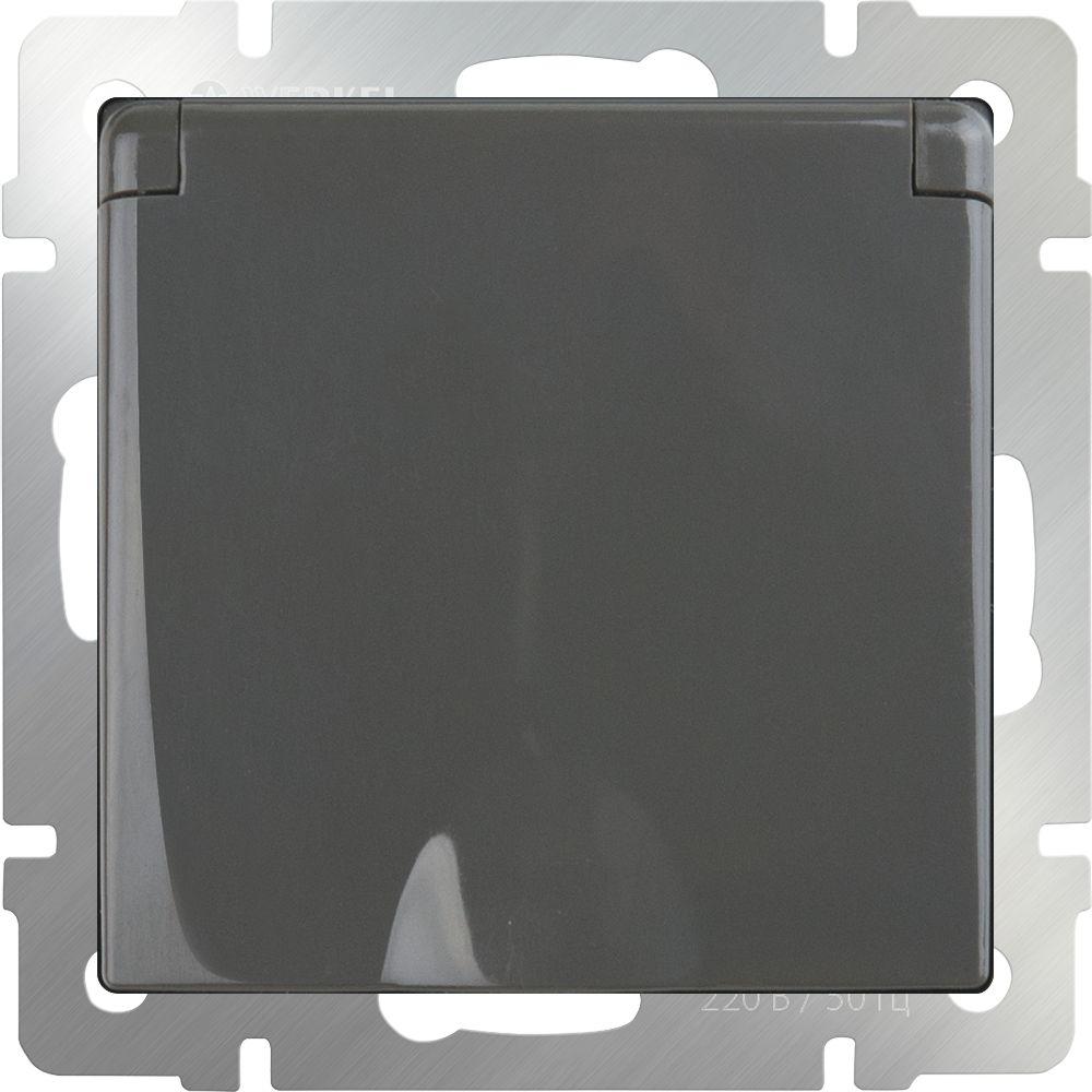 Розетка влагозащ. с заземлением, крышкой и шторками (серо-коричневый) /WL07-SKGSС-01-IP44