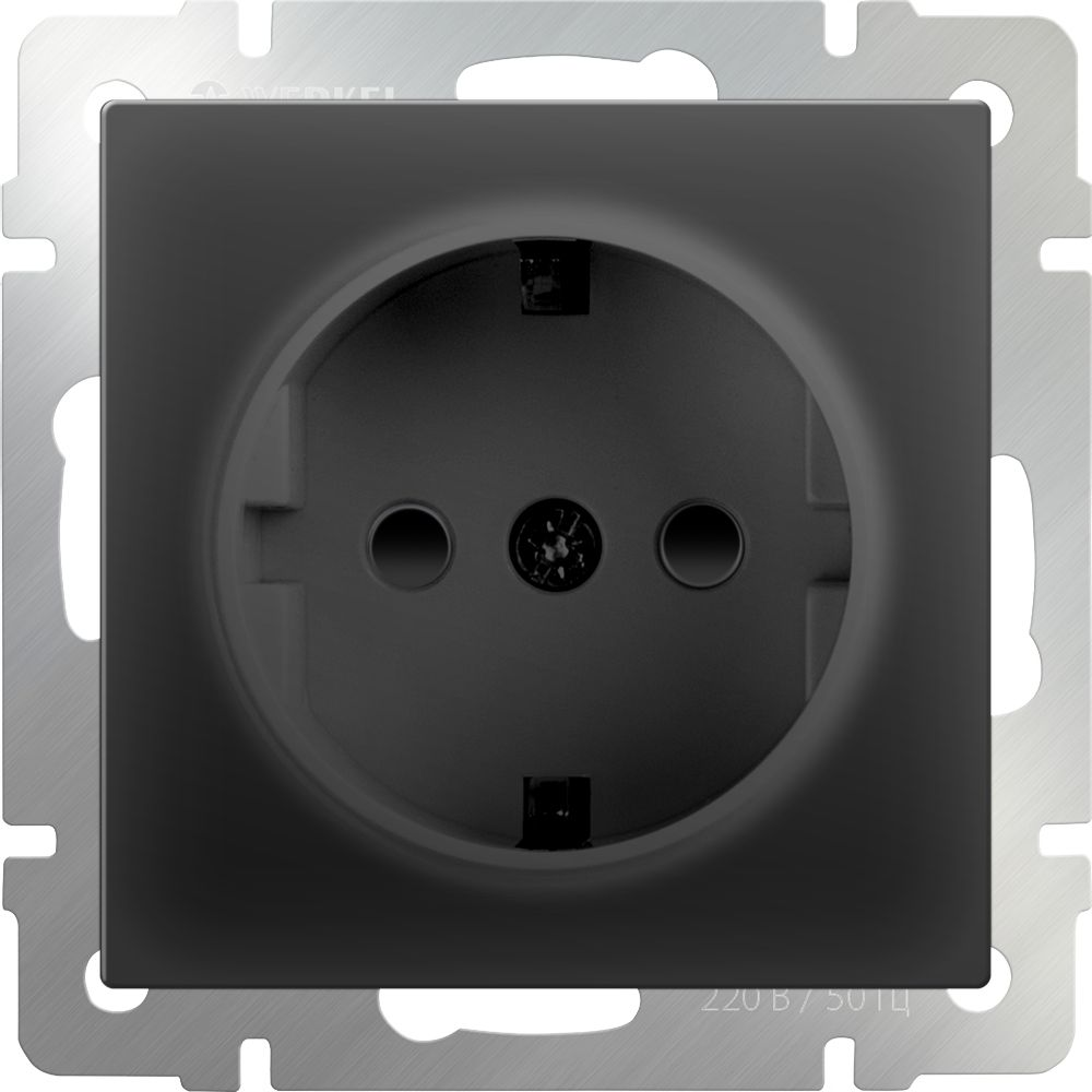 Розетка с заземлением и шторками (черный-матовый)/WL08-SKGS-01-IP44