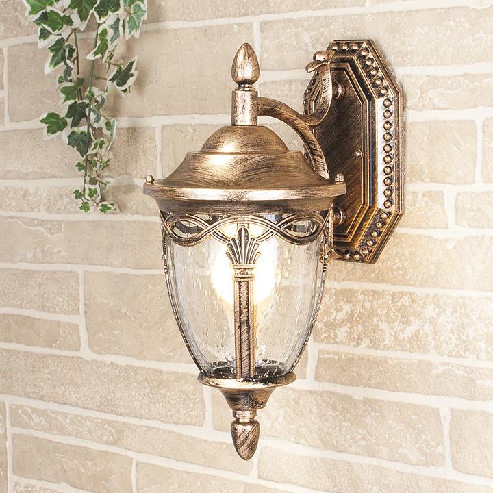 Уличный светильник Mensa D черное золото (стена) Е27 60W