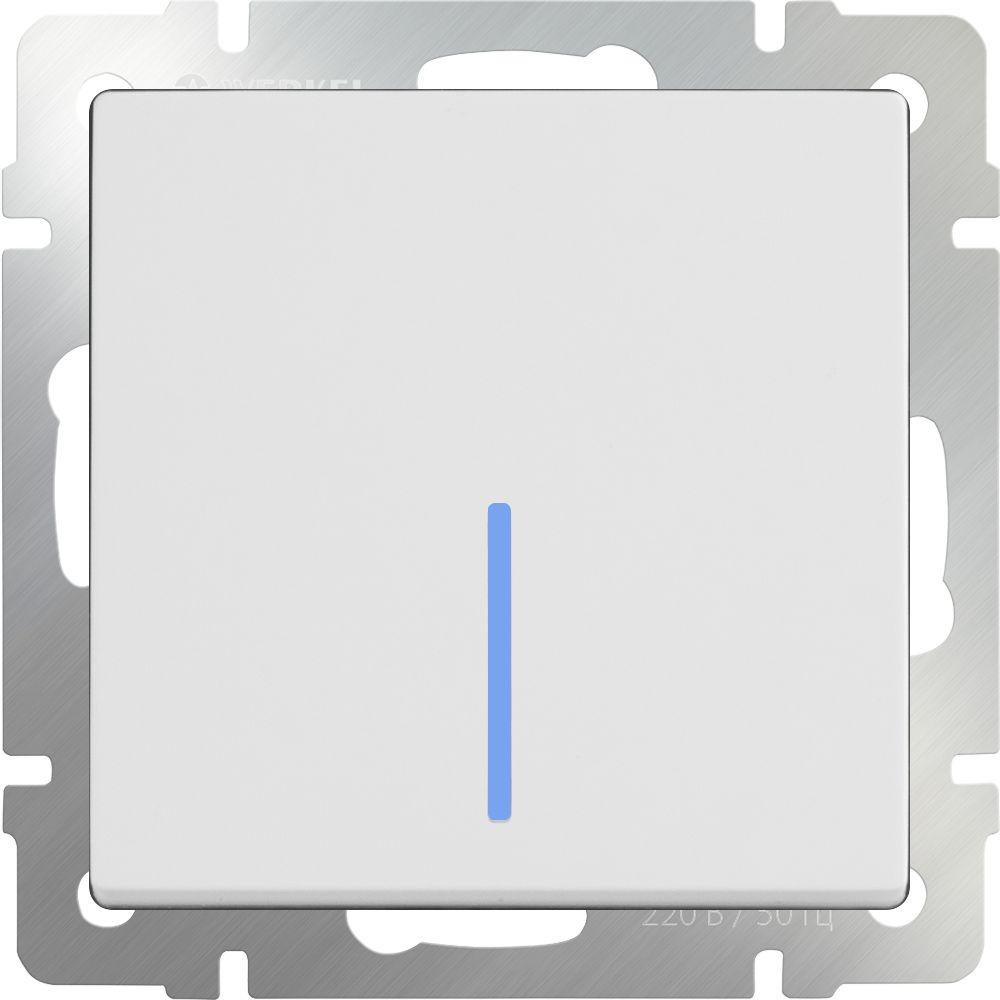 Выключатель 1клавишный проходной с подсветкой (белый) /WL01-SW-1G-2W-LED