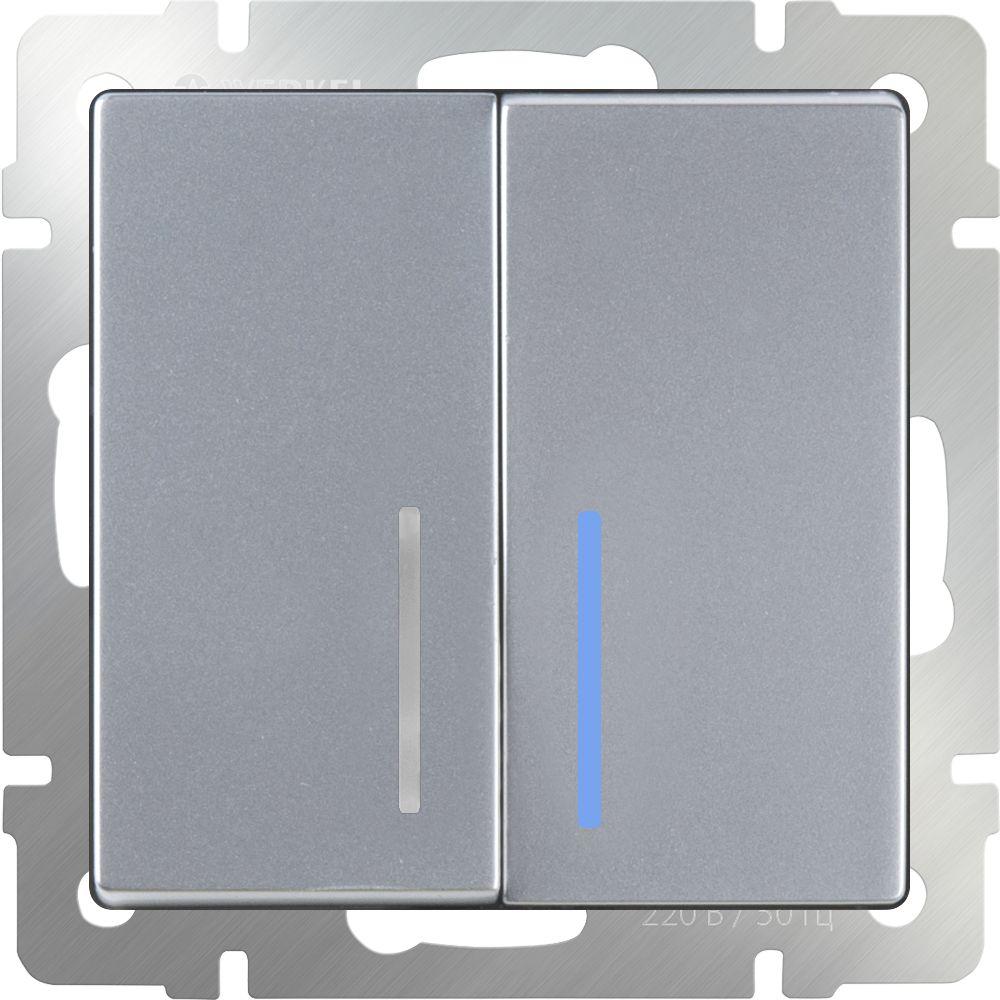 Выключатель 2клавишный с подсветкой (серебряный) /WL06-SW-2G-LED