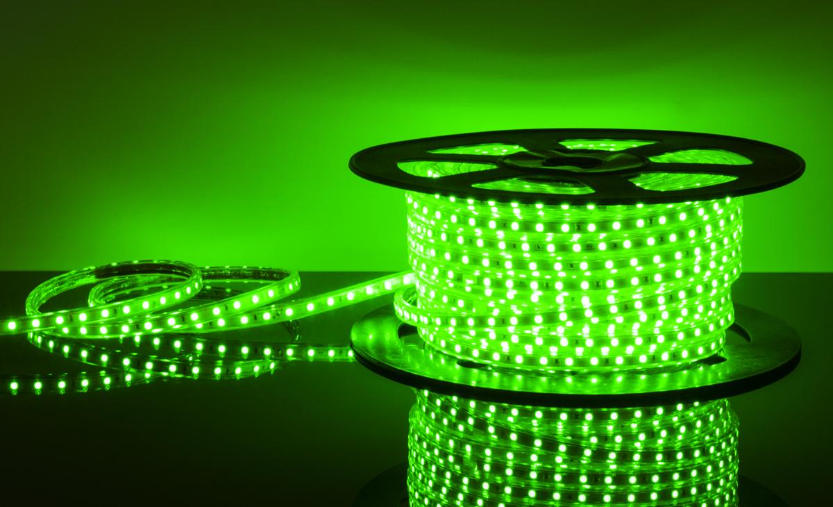 Лента светодиодиодная 220 V 60 Led 14,4W 5050 IP65 зеленый