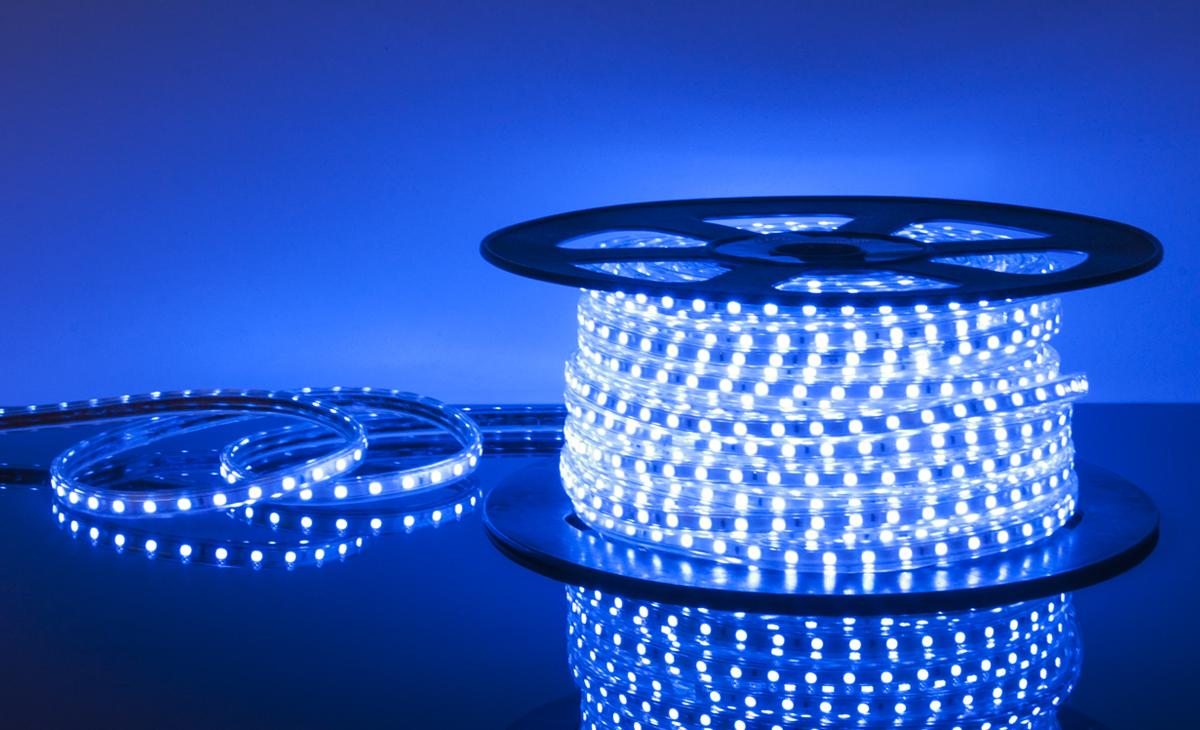 Лента светодиодиодная 220 V 60 Led 14,4W 5050 IP65 синий