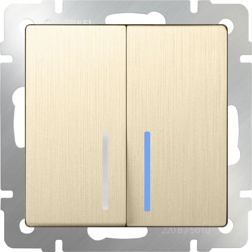 Выключатель 2клавишный проходной с подсветкой (шампань рифленый) /WL10-SW-2G-2W-LED