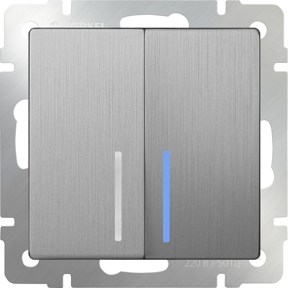 Выключатель 2клавишный проходной с подсветкой (серебряный рифленый) /WL09-SW-2G-2W-LED