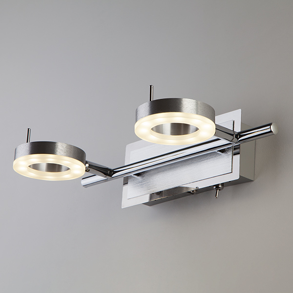 Светодиодный настенный светильник с поворотными плафонами 20001/2 алюминий