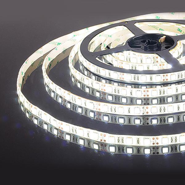 Лента светодиод.  60 Led 14,4 W IP65 белый (5 метров)