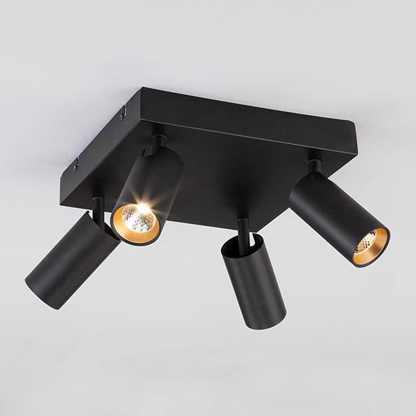 Светодиодный потолочный светильник с поворотными плафонами 20066/4 черный/золото