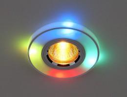 Светильник  2070/2 серебро/мультиподсветка (SL/7-multi/LED) SC
