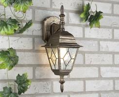 Уличный светильник Vega D черное золото (стена) Е27 1*60W