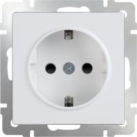 Розетка с заземлением и шторками (белая) /WL01-SKGS-01-IP44
