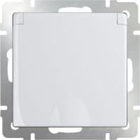 Розетка влагозащ. с заземлением, крышкой и шторками (белая) /WL01-SKGSС-01-IP44