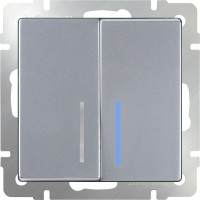 Выключатель 2клавишный проходной с подсветкой (серебряный) /WL06-SW-2G-2W-LED