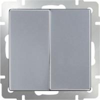 Выключатель 2клавишный проходной (серебряный) /WL06-SW-2G-2W