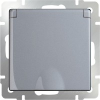 Розетка влагозащ. с заземлением, крышкой и шторками (серебряный) /WL06-SKGSС-01-IP44