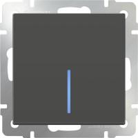 Выключатель 1клавишный проходной с подсветкой (серо-коричневый) /WL07-SW-1G-2W-LED