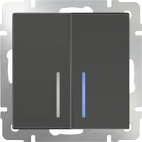 Выключатель 2клавишный проходной с подсветкой (серо-коричневый) /WL07-SW-2G-2W-LED