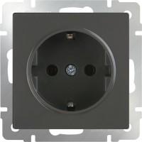 Розетка с заземлением (серо-коричневый) /WL07-SKG-01-IP20