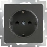 Розетка с заземлением и шторками (серо-коричневый) /WL07-SKGS-01-IP44