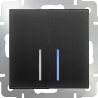 Выключатель 2клавишный проходной с подсветкой (черный-матовый) /WL08-SW-2G-2W-LED