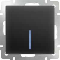 Выключатель 1клавишный проходной с подсветкой (черный-матовый) /WL08-SW-1G-2W-LED