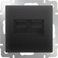 Розетка телефонная RJ-11 и Интернет RJ-45 (черный-матовый)/WL08-RJ-11-45