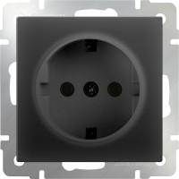 Розетка с заземлением (черный-матовый) /WL08-SKG-01-IP20