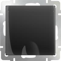 Розетка влагозащ. с заземлением, крышкой и шторками (черный-матовый) /WL08-SKGSС-01-IP44