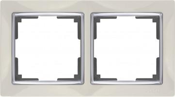 Рамка на 2 поста (слоновая кость) SNABB/WL03-Frame-02-ivory