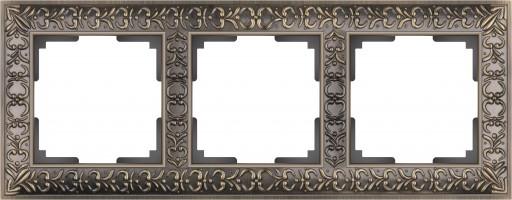 Рамка на 3 поста  (бронза) ANTIK/WL07-Frame-03
