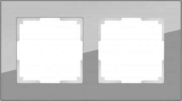 Рамка на 2 поста (серый, стекло) FAVORIT/ WL01