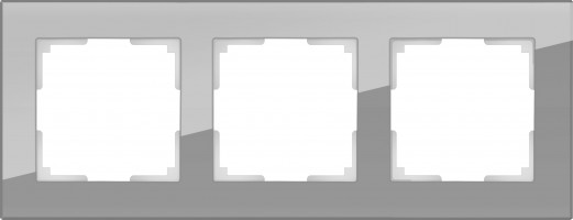 Рамка на 3 поста (серый, стекло) FAVORIT/ WL01