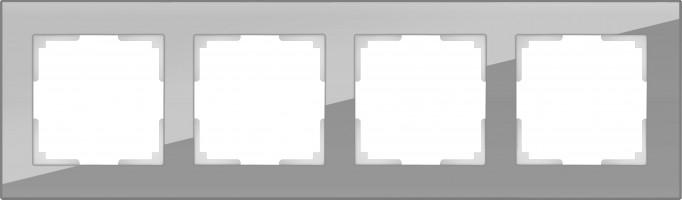 Рамка на 4 поста (серый, стекло) FAVORIT/ WL01
