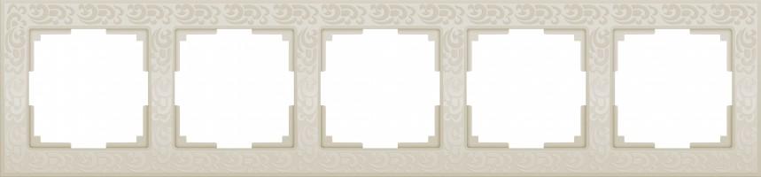 Рамка на 5 постов (слон кость)  FLOCK/WL05-Frame-05-ivory