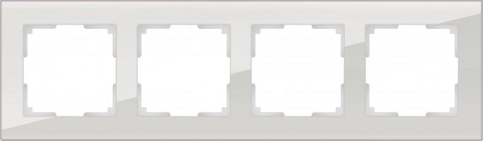 Рамка на 4 поста (белый, стекло) FAVORIT/ WL01