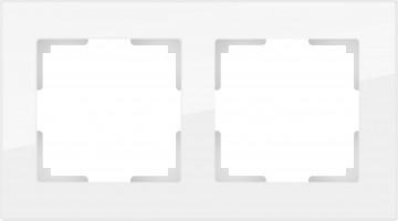 Рамка на 2 поста (белый, стекло) FAVORIT/ WL01