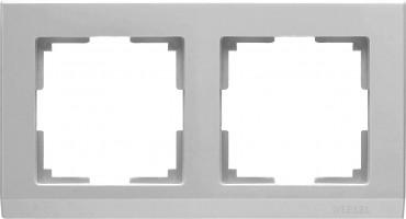 Рамка на 2 поста (серебряный) STARK/WL04