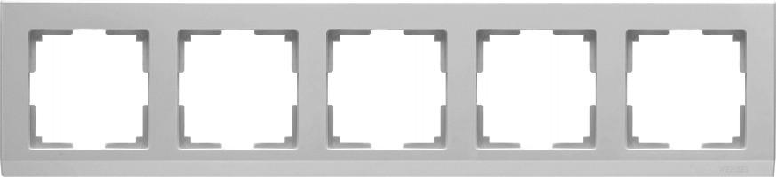 Рамка на 5 постов (серебряный) STARK/WL04