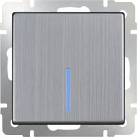 Выключатель 1клавишный проходной с подсветкой (глянцевый никель) /WL02-SW-1G-2W-LED