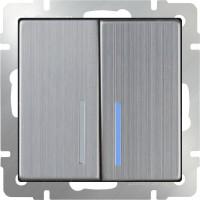 Выключатель 2клавишный проходной с подсветкой (глянцевый никель) /WL02-SW-2G-2W-LED