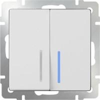 Выключатель 2клавишный проходной с подсветкой (белый) /WL01-SW-2G-2W-LED