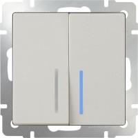 Выключатель 2клавишный проходной с подсветкой (слоновая кость) /WL03-SW-2G-2W-LED