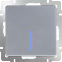 Выключатель 1клавишный с подсветкой (серебряный) /WL06-SW-1G-LED