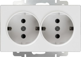 Розетка двойная с заземлением (белая) /WL01-SKG-02-IP20