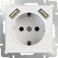 Розетка с заземлением, шторками и USBx2 (белая) /WL01-SKGS-USBx2-IP20